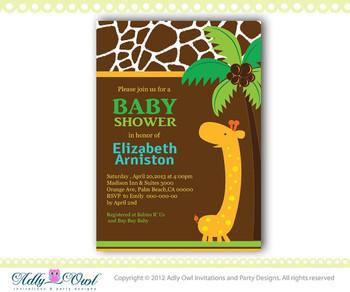 Personalized  Safari Giraffe Boy Baby Shower Printable DIY party invitation for boy - ONLY digital file - you print