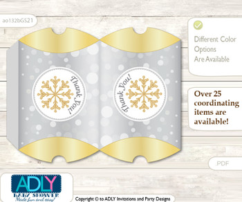 Neutral Snowflake Pillow Box for Candy, Little Treats or Small Gift of any Baby Shower or Birthday, Gold , Grey