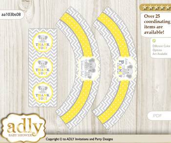 Printable Grey Elephant Cupcake, Muffins Wrappers plus Thank You tags for Baby Shower Yellow, Chevron