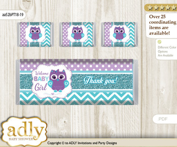 Girl Owl Chocolate Bar Wrapper and Nuggets Candy Wrapper Label for Baby Girl Shower  Teal Purple , Chevron