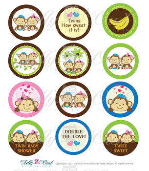Boy and Girl TWIN Monkey Baby Shower Cupcake Toppers or Favor Tags Printables DIY, it's a girl  and boy twin tags -Only digital file - SKU49