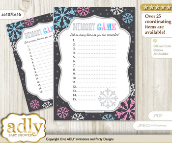 Boy Girl Snowflake Baby ABC's Game, guess Animals Printable Card for Baby Snowflake Shower DIY –Winter  Boy Girl Snowflake Memory Game Card for Baby Shower, Printable Guess Card, Pink Blue, Winter