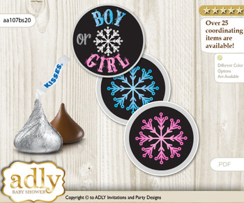 Printable  Boy Girl Snowflake Candy Kisses for Baby Boy Girl Shower DIY Pink Blue , Winter