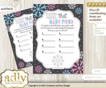 Boy Girl Snowflake Guess Baby Food Game or Name That Baby Food Game for a Baby Shower, Pink Blue Winter