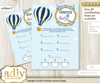 Boy Air Balloon Dirty Diaper Game or Guess Sweet Mess Game for a Baby Shower Yellow Orange, Adventure