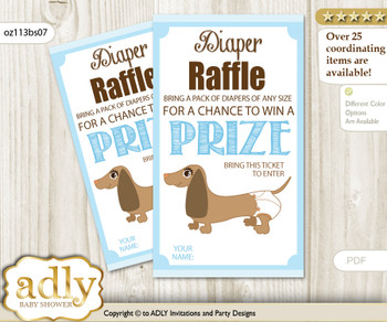 Boy Dog Diaper Raffle Printable Tickets for Baby Shower, Sausage, Blue