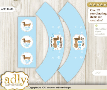 Printable Boy Dog Cupcake, Muffins Wrappers plus Thank You tags for Baby Shower Sausage, Blue