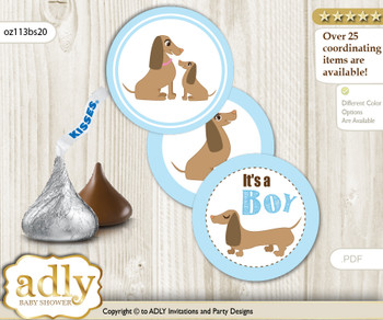 Printable  Boy Dog Candy Kisses for Baby Boy Shower DIY Sausage , Blue