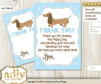 Boy  Dog Thank you Cards for a Baby Boy Shower or Birthday DIY Sausage, Blue