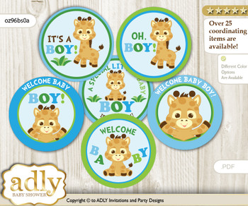 Baby Shower Boy Giraffe Cupcake Toppers Printable File for Little Boy and Mommy-to-be, favor tags, circle toppers, Safari, Blue Green