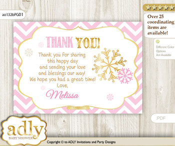 Snowflake Thank you Printable Card with Name Personalization for Baby Shower or Birthday Party