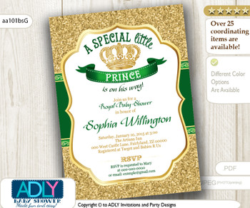 Gold Glitter and Dark Royal Green Prince or King Baby Shower Invitation