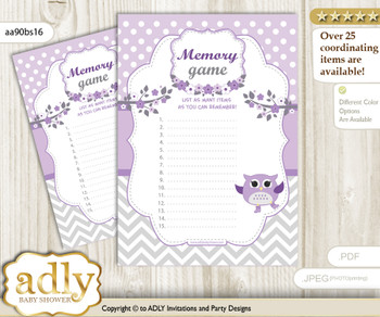 Girl Owl Memory Game Card for Baby Shower, Printable Guess Card, Purple Grey, Chevron