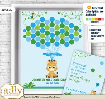 Boy Giraffe Guest Book Alternative for a Baby Shower, Creative Nursery Wall Art Gift, Blue Green, Safari