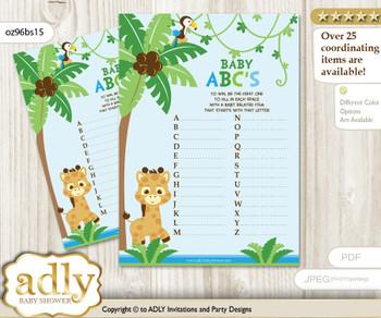 Boy Giraffe Baby ABC's Game, guess Animals Printable Card for Baby Giraffe Shower DIY – Safari