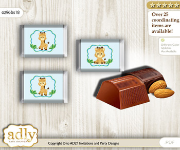 Boy Giraffe Chocolate Nuggets Candy Wrapper Label for Baby Boy Shower  Blue Green , Safari