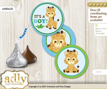 Printable  Boy Giraffe Candy Kisses for Baby Boy Shower DIY Blue Green , Safari