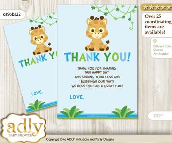 Boy  Giraffe Thank you Cards for a Baby Boy Shower or Birthday DIY Blue Green, Safari