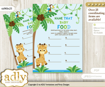 Boy Giraffe Guess Baby Food Game or Name That Baby Food Game for a Baby Shower, Blue Green Safari