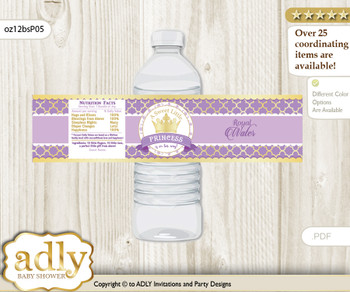 Purple Princess Water Bottle Wrappers, Labels for a Princess  Baby Shower, Gold, Royal