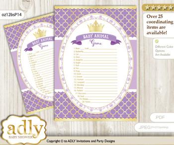 Printable Purple Princess Baby Animal Game, Guess Names of Baby Animals Printable for Baby Princess Shower, Gold, Royal