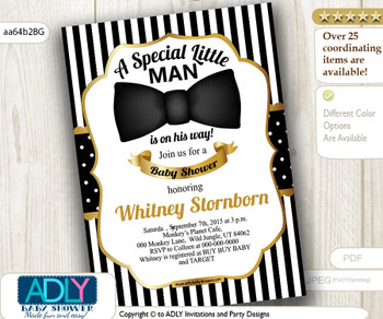 Black and Gold Bow tie Little man shower, stripes