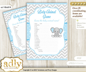 Elephant Baby Animal Game, Guess Names of Baby Animals Printable for Baby Elephant Shower, Blue Grey, Chevron