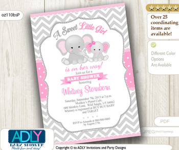 Grey Chevron Girl Elephant with Pink Polka Invitation for Baby Shower
