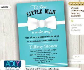 Tiffany Blue White Bow Tie Boy baby shower invitation
