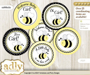 Baby Shower Girl Bee Cupcake Toppers Printable File for Little Girl and Mommy-to-be, favor tags, circle toppers, Polka, Yellow Black