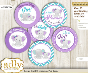 Baby Shower Girl Elephant Cupcake Toppers Printable File for Little Girl and Mommy-to-be, favor tags, circle toppers, Peanut, Purple teal