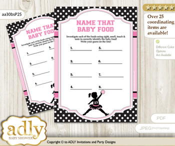 Girl MVP Guess Baby Food Game or Name That Baby Food Game for a Baby Shower, Pink Black Basketball