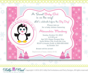 Pink Snowflake Penguin Girl Baby Shower invitation Printable DIY, winter Baby shower,bundle of joy - Instant Download