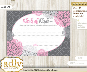 Pink Grey Girl Flowers Words of Wisdom or an Advice Printable Card for Baby Shower, Floral