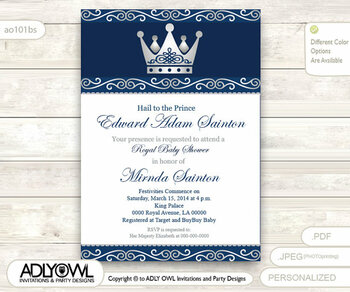 Silver Blue Little Prince Royal Baby Shower Invitation, Prince DIY party invitation for boy, king baby shower,dark blue, navy gray - Instant Download