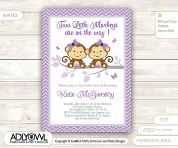 Purple Twin Monkeys Baby Shower invitation for girl, lavander, grey chevron monkey baby shower invitation, it's twins