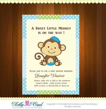 Personalized Boy Monkeys Baby Shower Printable DIY party invitation