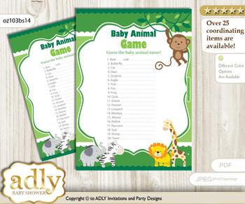 Printable Boy Jungle Baby Animal Game, Guess Names of Baby Animals Printable for Baby Jungle Shower, green, Animals
