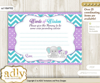 Purple teal Girl Elephant Words of Wisdom or an Advice Printable Card for Baby Shower, Peanut