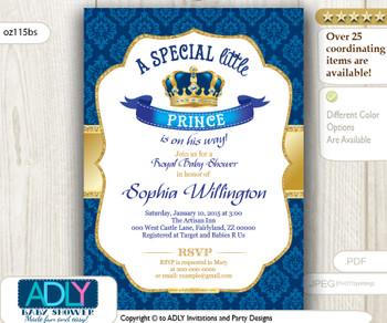 Royal Blue Gold Vintage Crown Prince/ King Invitation for baby shower, true royal blue color
