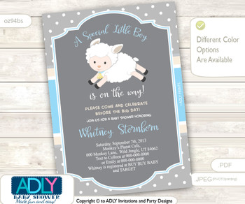 Blue, Grey Boy Lamb invitation for baby shower, digital invitation