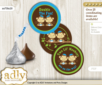 Printable  Twins Monkey Candy Kisses for Baby Twins Shower DIY Green Blue , Boys