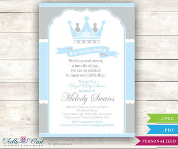 Grey Baby Blue Prince Baby Shower invitation for boy ,king, gray blue crown,royal shower - Instant Download