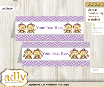 Printable Twins Monkey Buffet Tags or Food Tent Labels  for a Baby Shower or Birthday , Lavender, Girls