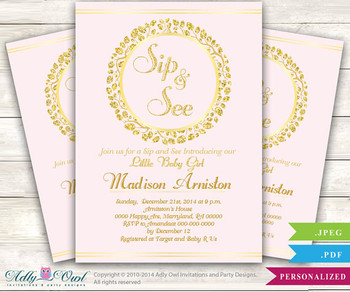 Sip and See party invitation for a Girl in powder pink and glitter gold,wreath blush pink, sip n see invitation,it's a girl
