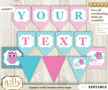 Personalized Girl Owl Printable Banner for Baby Shower, Pink, Teal