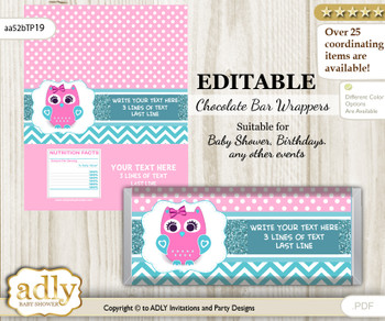 Personalizable Girl Owl Chocolate Bar Candy Wrapper Label for Girl  baby shower, birthday Pink , Teal