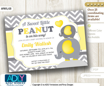 Horizontal Boy Peanut and Elephant Mommy Invitation, yellow grey chevron elephant invitation