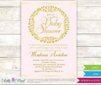 Gold Glitter Powder Pink baby Shower invitation for Girl in powder pink glitter gold,wreath blush pink, It is a Girl invitation