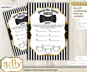 Boy Bow Tie Dirty Diaper Game or Guess Sweet Mess Game for a Baby Shower Black Gold, Stripes